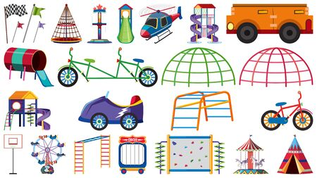 Set of differnt play station at the playground on white background illustration
