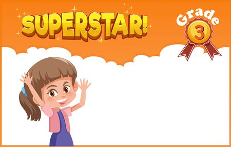 Background template design with happy girl and word superstar illustration 向量圖像