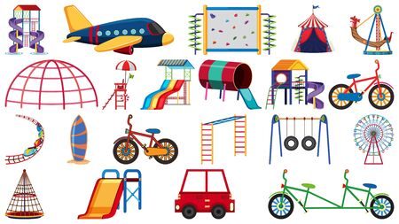 Big set of play stations on white background illustration