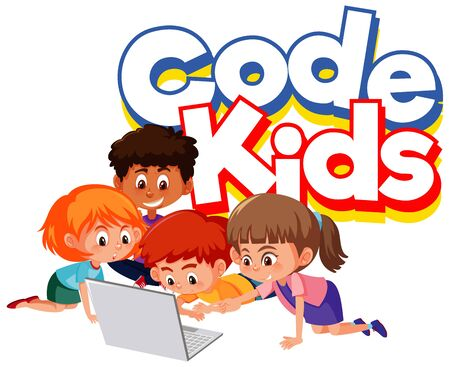 Font design for word code kids with children working on computer illustration