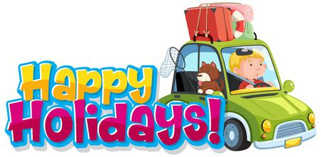Font design template for word happy holidays with man and dog on the road illustration