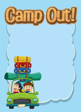 Frame design template with people on the road trip and word camp out illustration