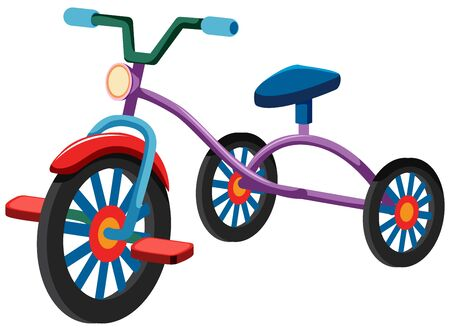One tricycle on white background illustration