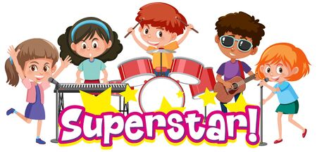 Font design template for word superstar with kids playing in band illustration