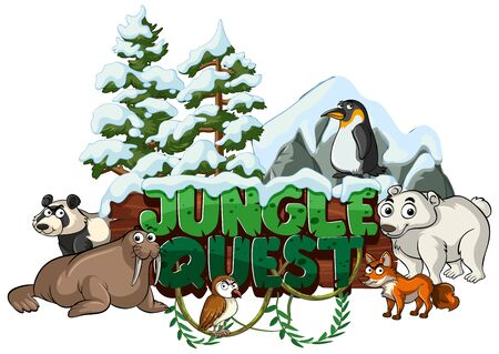 Font design for word jungle quest with animals in the snow illustration