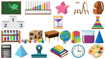 Big set of school items on white background illustration