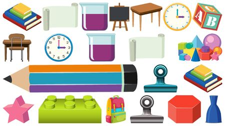 Big set of office and school supplies on white background illustration