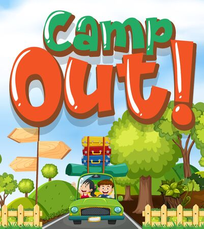 Font design for word camp out with kids on the road illustration