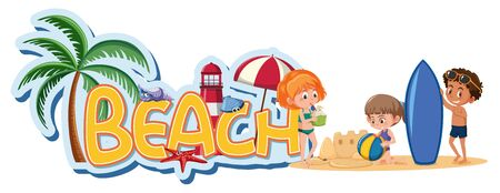 Font design template for word beach with kids on the beach illustration