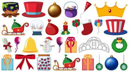 Set of party ornaments and other decorations on white background illustration Vektorgrafik