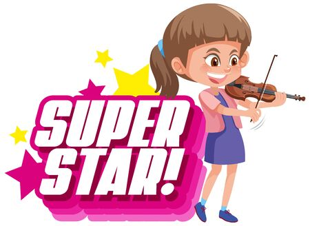 Font design for word superstar with girl playing violin illustration
