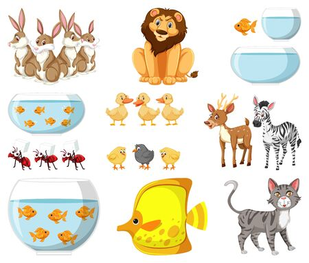 Large set of different types of animals on white background illustration Archivio Fotografico - 143061089