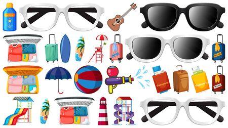 Large set of summer items on white background illustration 일러스트