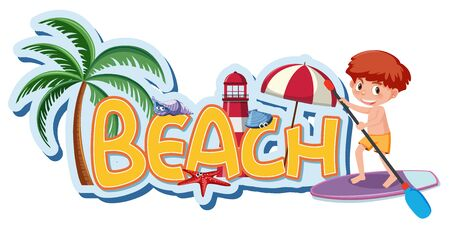 Font design template for word beach with boy on surfboard illustration