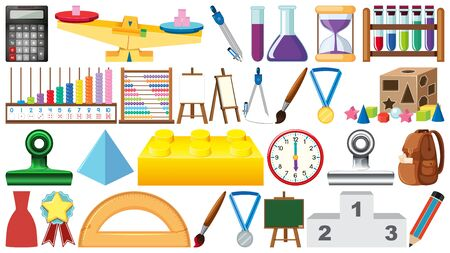 Big set of different school items on white background illustration