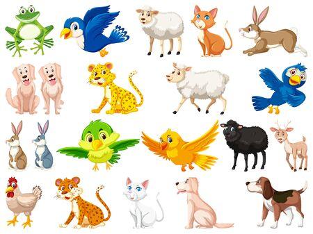 Large set of wild animals on white background illustration Ilustracje wektorowe