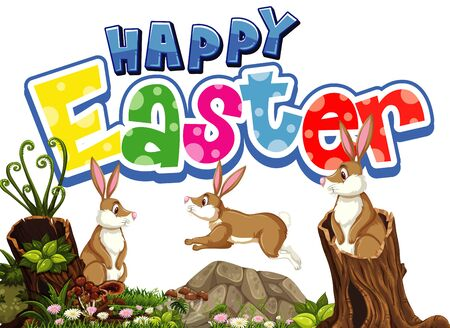 Happy Easter font design with easter bunnies in garden illustration