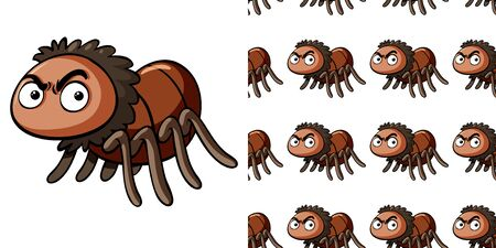 Seamless background design with angry spider illustration Vecteurs