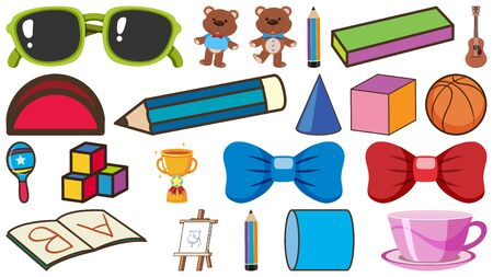 Set of school items and other decorations on white background illustration