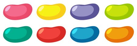 Set of different colors jelly beans on white background illustration