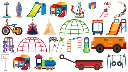 Big set of different play stations and transportations on white background illustration