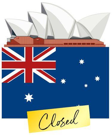 Flag of Australia and closing sign on white background illustration Vecteurs