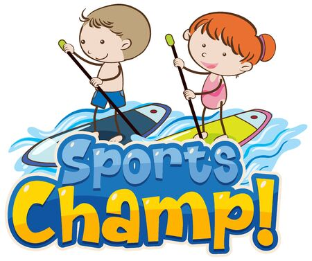 Font design template for word sports champ with kids on surfboard illustration