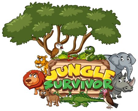 Font design for word jungle survivor on white background illustration