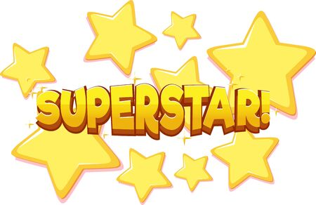 Font design for word superstar on white background illustration