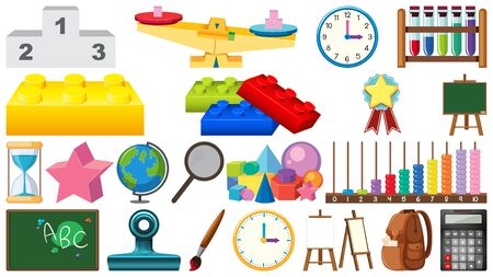 Large set of school items on white background illustration