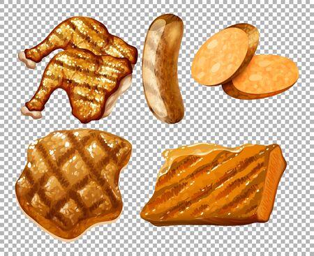Grilled meats on transparent background illustration