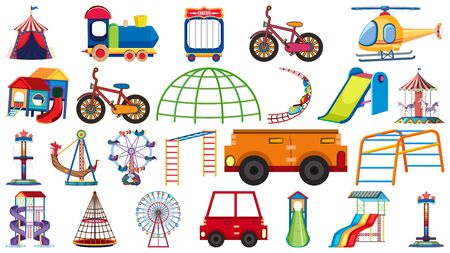 Large set of different rides and transportations on white background illustration Illustration