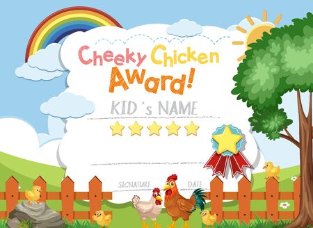 Certificate template design cheeky chicken award with chickens on the farm illustration