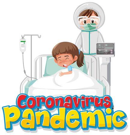 Covid-19 patient at hospital illustration