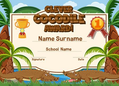 Certificate template design clever crocodile award with two crocodiles in background illustration