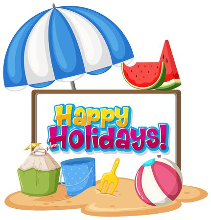 Font design template for word happy holidays with beach items illustration