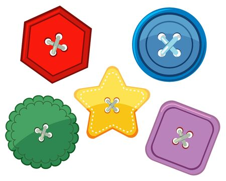 Set of different shapes and colors of buttons on white background illustration 向量圖像