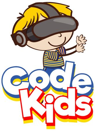 Font design for word code kids with kid wearing goggle illustration