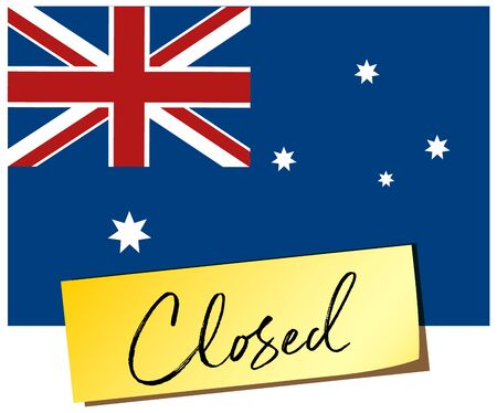 Australia flag and the word closed on memo note illustration