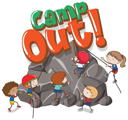 Font design template for word camp out with kids climbing rock illustration