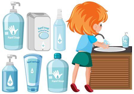 Set of hygiene products illustration
