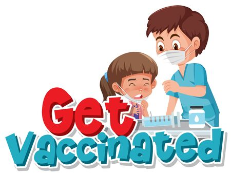 Girl getting vaccinated on white background illustration