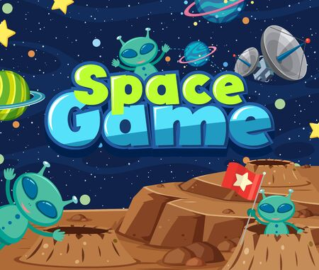 Poster design with word space game and aliens in the space illustration