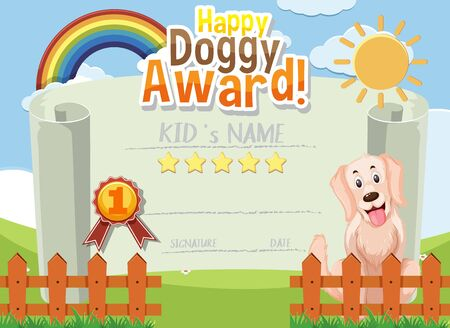 Certificate template design for happy doggy award with cute dog in background illustration Vektoros illusztráció