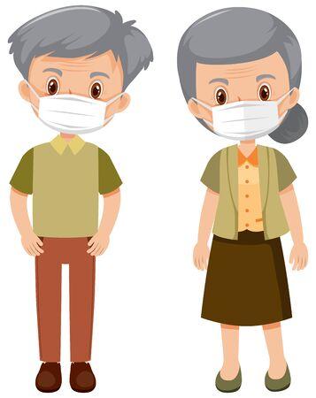 Elderly people wearing mask illustration