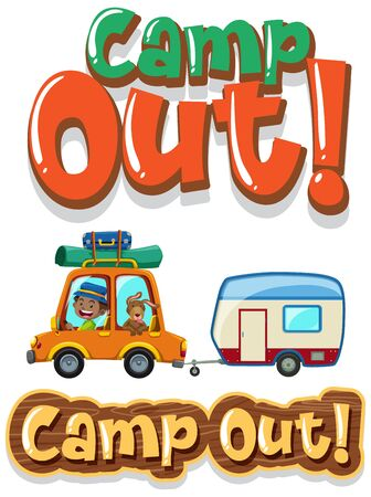 Font design for word camp out with boy driving car illustration