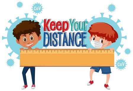 Boy keep distance to avoid coronavirus illustration
