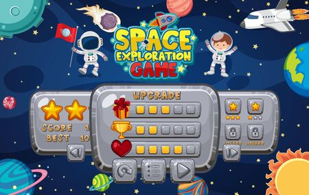 Game template with many planets in the space background illustration