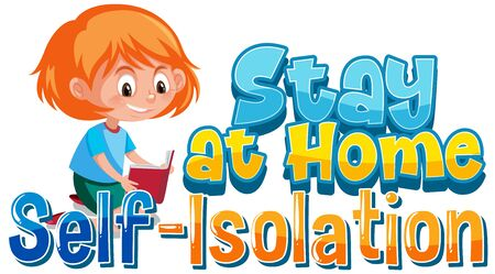 Font design for coronavirus theme with stay at home illustration