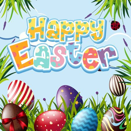 Happy Easter design with many eggs in the garden illustration